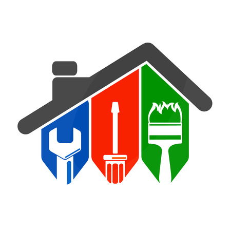 Repair of home with a tool, for business symbol 向量圖像