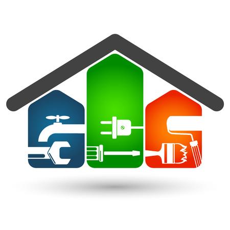 Reparatur von Haussymbol für Unternehmen Standard-Bild - 64039559
