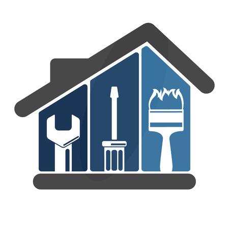Reparaties in het huis embleem voor bedrijven Stock Illustratie