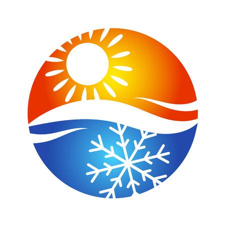 Symbol der Klimaanlage für das Haus, das Temperaturregime Vektorgrafik