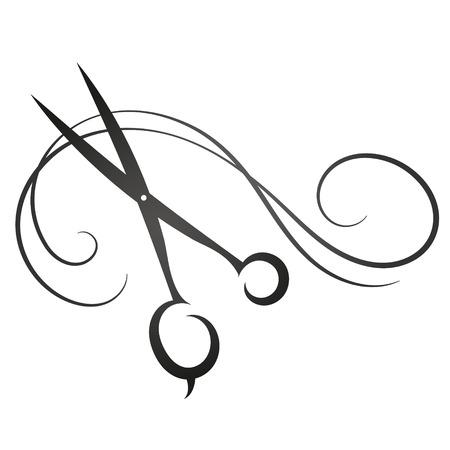 Nůžky a vlasy znamení pro siluetu krásy vektoru