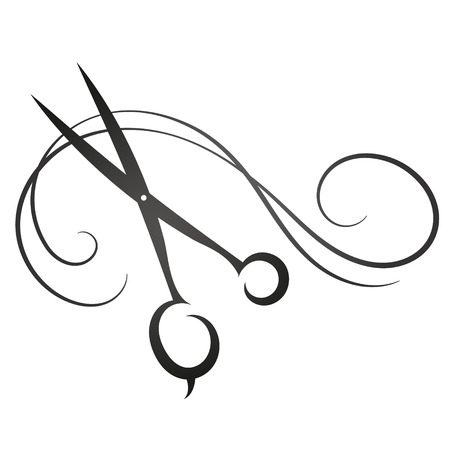 hairdressing scissors: Scissors and hair sign for beauty vector silhouette