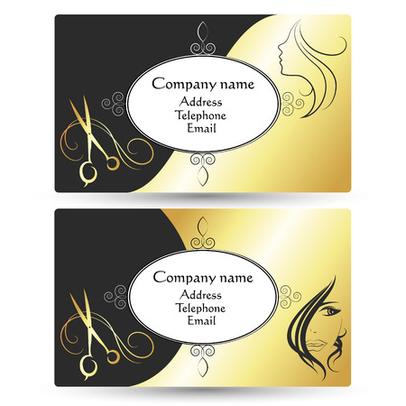 beauty shop: Business card for a beauty salon and barber shop, business layout Illustration