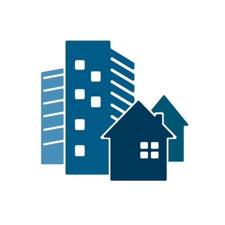 business buildings: Construction of houses and high rise buildings, business symbol