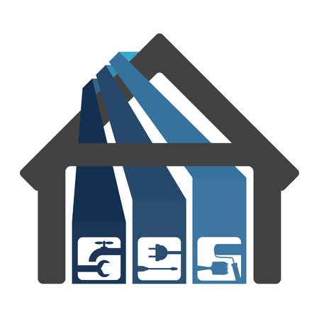 Renovation and construction of houses for business symbol