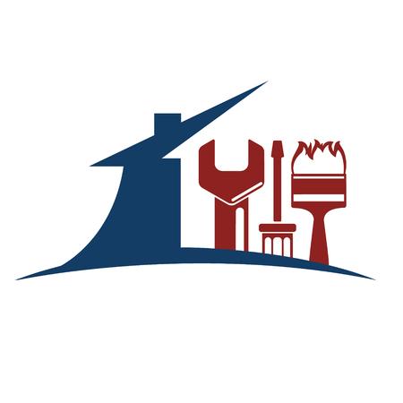 silhouette maison: Emblème pour la réparation de la maison, la maison silhouette trop Illustration