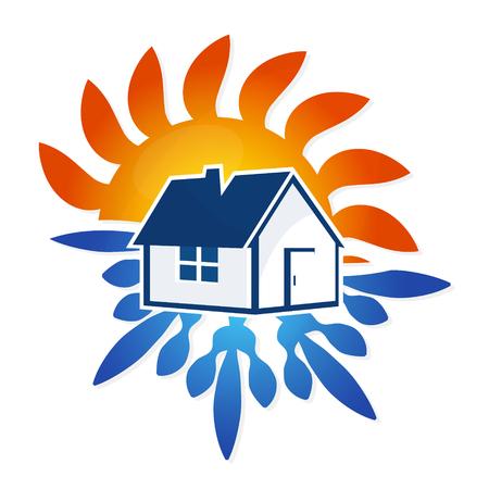 Airconditioning House vector ontwerp, zon en sneeuwvlok