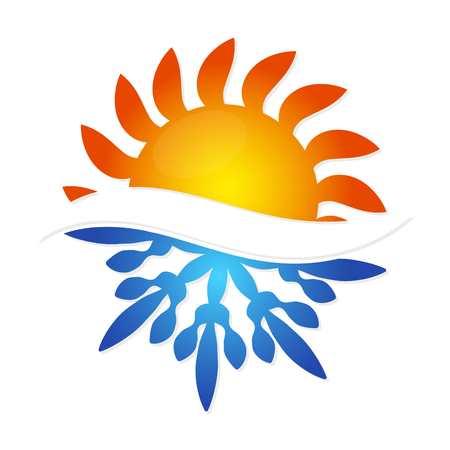 Sun and snowflake symbol air conditioning business Vectores