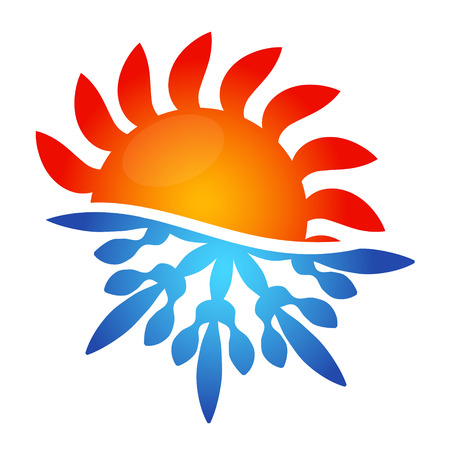 Sun and snowflake vector air conditioning design