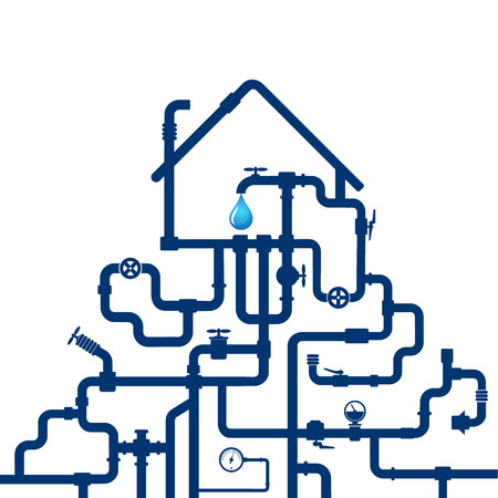 Water pipes and house for vector design 向量圖像