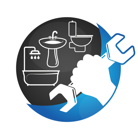 plumb: Plumbing Services business symbol vector