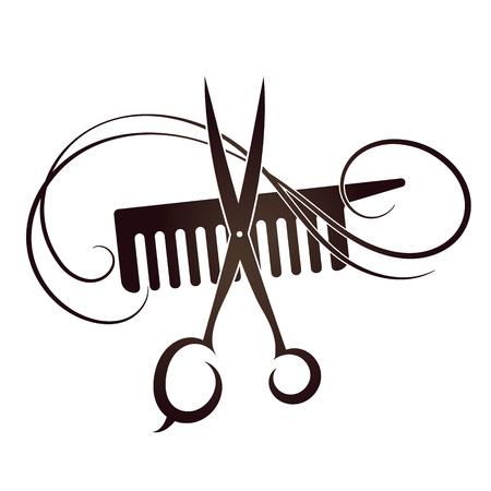 Nożyczki i grzebień symbolem salon fryzjerski i kosmetyczny