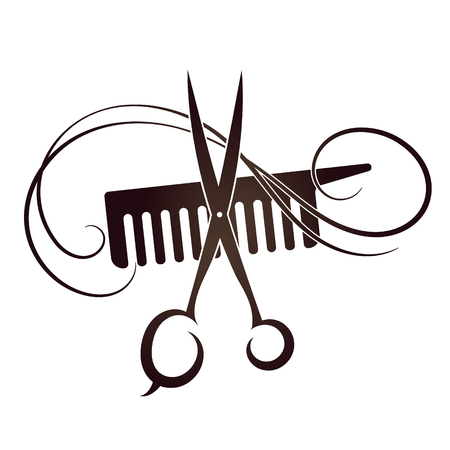 comb hair: Scissors and Comb symbol for the hair and beauty salon