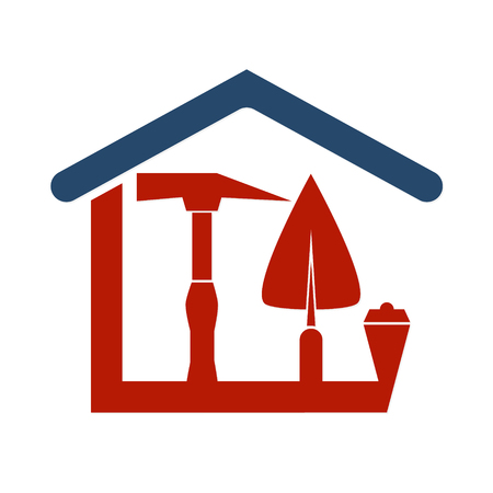 business tool: Construction of the house with a tool for business symbol
