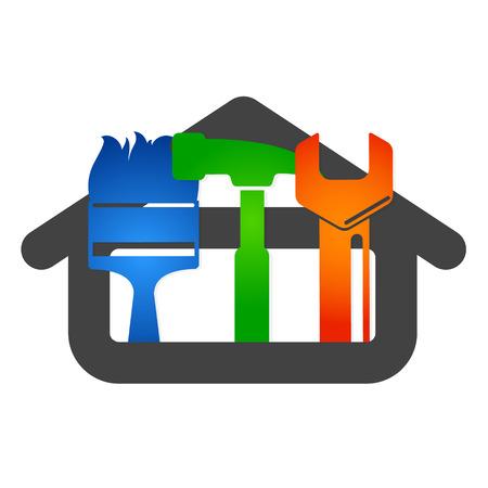 home logo: Home repair vector business, tools for repair Illustration