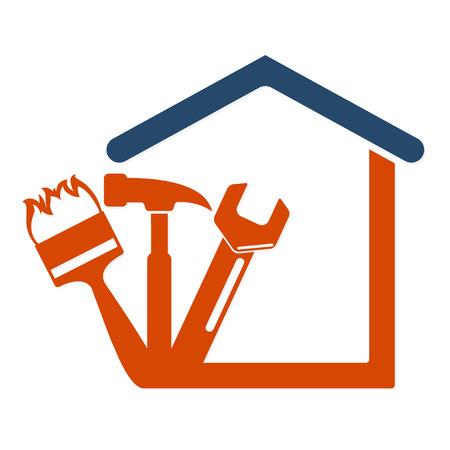 logo batiment: Réparation à domicile avec le vecteur symbole d'outil Business Illustration