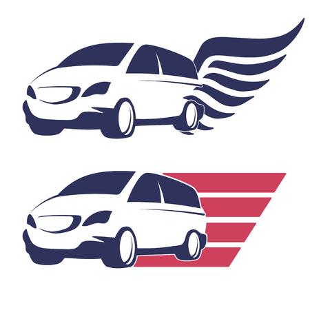 minivan: Minivan cargo delivery vector symbol set