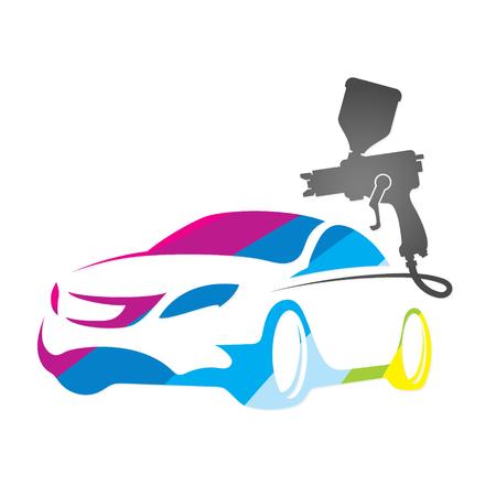 pistola: Pintura diseño de los coches de la silueta de visita del vector Vectores