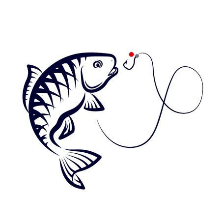 salmon leaping: Fish jumping over a hook, a symbol for fishing