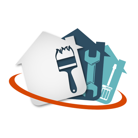 Repair of home with a tool vector Çizim