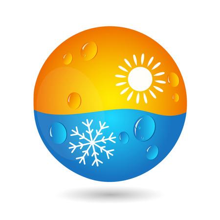 Concept de climatisation pour les entreprises, le soleil et les flocons de neige