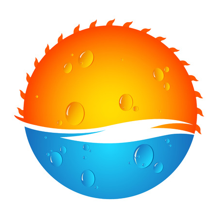 sunrise ocean: Sun and water vector design