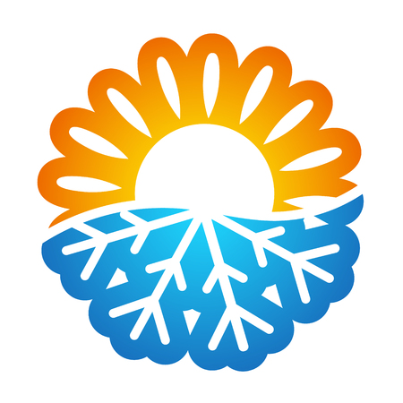 Sun and snowflake symbol vector air conditioning Stock Illustratie