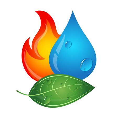 water sources: Emblem renewable energy sources, fire, water drop and green leaf