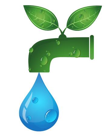 Il rubinetto dell'acqua e una goccia d'acqua, simbolo di eco vettore