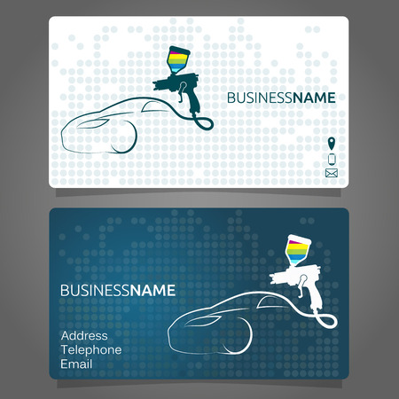 Business card for painting a car, business concept