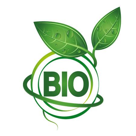 Bio symbol design, green leaves vector Иллюстрация