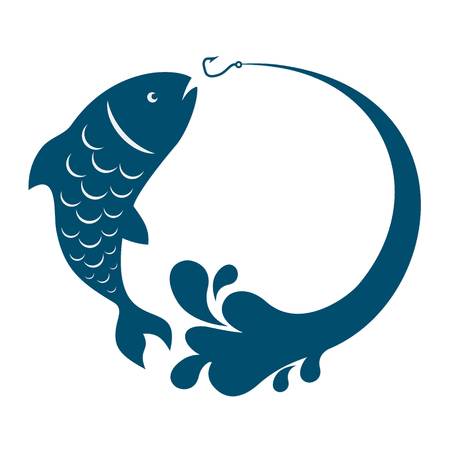 animal mouth: Fish jumping behind bait hook vector