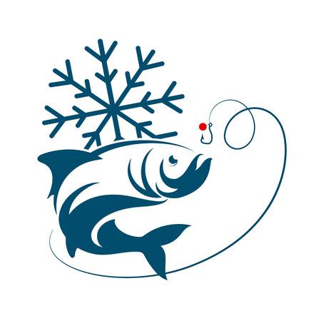 Winter fishing, fish and snowflakes