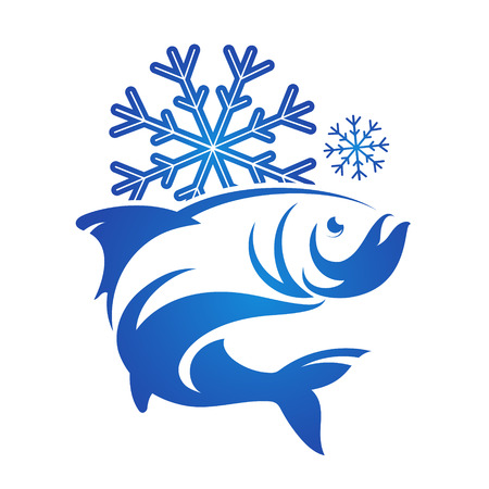 frozen fish: Frozen fish symbol vector silhouette