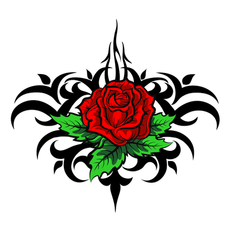 rose tattoo: Rose pattern silhouette tattoo vector