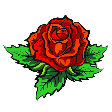 red rose: Red rose with green leaves silhouette vector Illustration