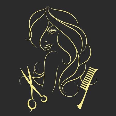 cabello negro: Chica con el pelo largo del salón de belleza, tijeras y el peine