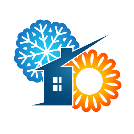 conditions: Air conditioning at home for business vector Illustration