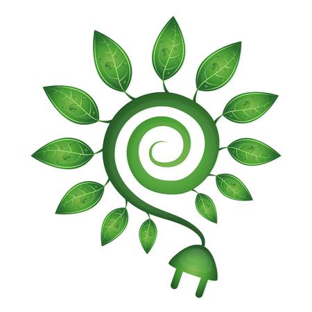 mains: Green energy symbol, green leaves and mains socket