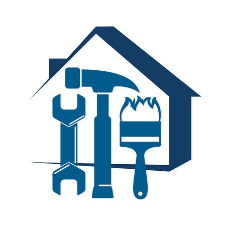 Naprawa domu za pomocą narzędzia, na symbol biznesowy Ilustracje wektorowe