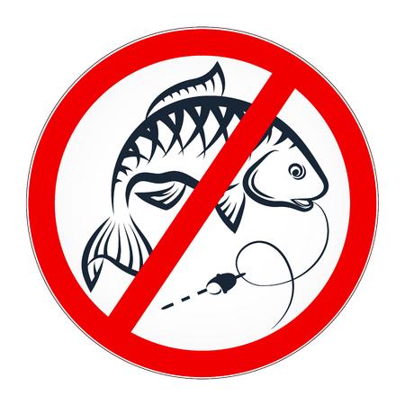 Queda prohibida la pesca de la bandera del vector