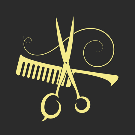comb hair: Scissors and Comb beauty salon and barber shop, silhouette vector Illustration