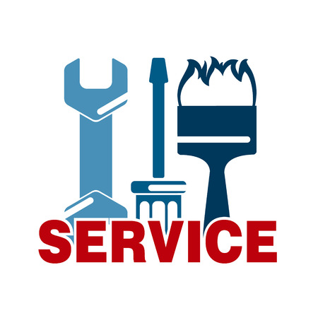 business tool: Service sign with business tool vector