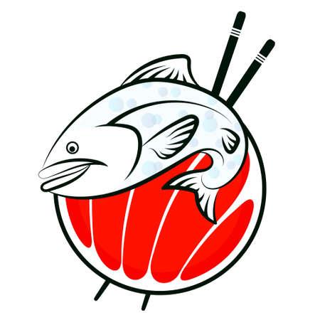 벡터 스시 물고기 기호