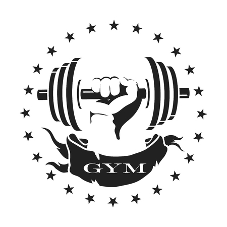 fitness gym: Dumbbell in a hand, symbol for the gym and fitness Illustration