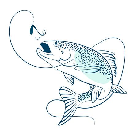 Saumon sautant pour l'appât pour la silhouette de la pêche Banque d'images - 70765107