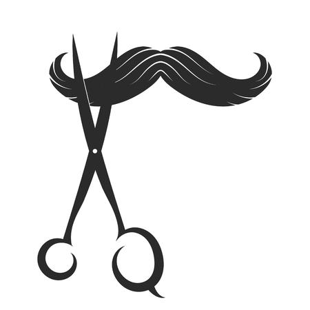 barber scissors: Symbol Barber Shop, mustache and scissors Illustration