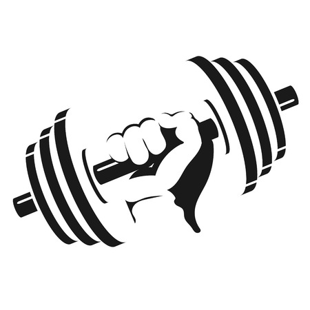 Dumbbell in hand silhouette for the gym Çizim