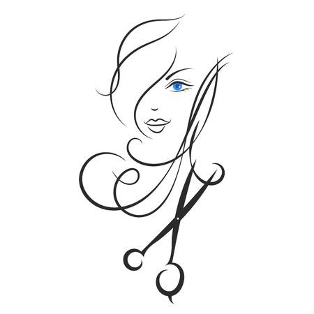 hair style fashion: Girl and scissors design for hairdresser Illustration
