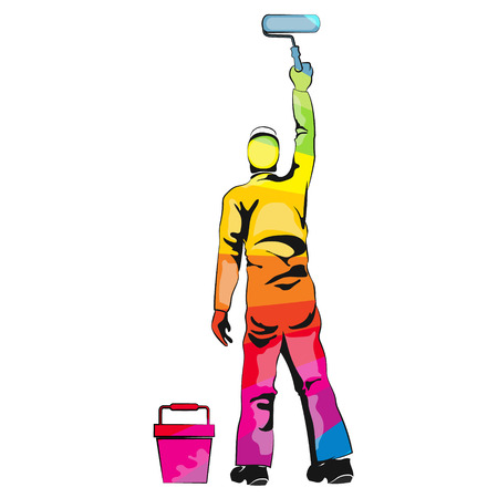 wall paint: Painter paint roller multicolored wall Illustration